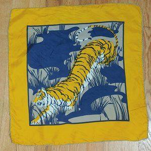 Vintage Silk Tiger Animal Handkerchief